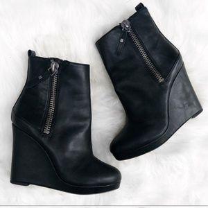 Nine west wedge leather booties.